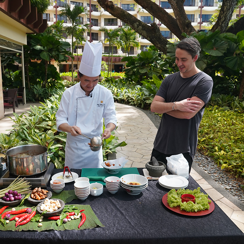 Kricket London chef Will Bowlby with Malaysian chef in Penang
